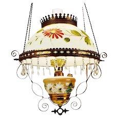 Antique Cox, Parish & Unger Electrified Hanging Oil Lamp