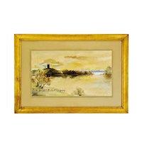 Vintage Framed Watercolor & Mixed Media Landscape Painting - Artist Signed