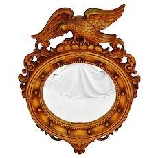 Vintage Syroco Federal Style Convex Mirror w/ Eagle Topper