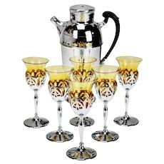 Art Deco Farber Krome Craft Amber Glass Cocktail Set - 7 Piece Set