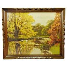 Vintage Framed Landscape Lake Scene Print