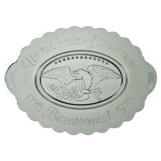 """1776 Bicentennial 1976 United States Of America Eagle 9"""" Glass Crystal Dish"""