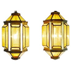 Pair of MCM Mid Century Modern Ceiling Light Fixtures Chandelier Pendant Lamps