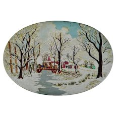 1976 Hershey Mold Winter Scene with Horse and Sleigh