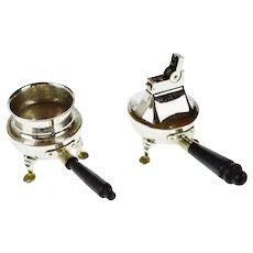 2 Piece Vintage Rhodium Finish Lighter and Ashtray Set