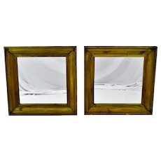 Rustic Distressed Wood Wall Mirrors - A Pair