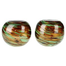 Hand Blown Art Glass Votive Candle Holders - A Pair