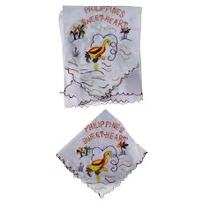 Vintage WW2 Collectible Philippines Sweetheart Satin Scarf and Handkerchief Set