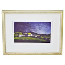 Vintage Framed Artist Signed & Numbered Lithograph of Mikonos Landscape