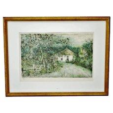 Vintage Framed Artist Signed & Numbered Lithograph of Country Landscape