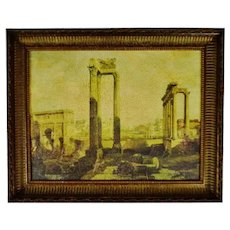 Vintage Framed Gilt Embellished Giclee on Canvas of Ancient Ruins