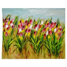 Vintage Large Scale Impressionist Impasto Oil Painting Field of Tulips - Artist Signed