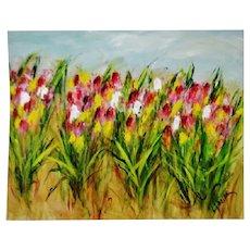 Vintage Large Scale Impressionist Impasto Oil Painting Field of Tulips - Artist Signed