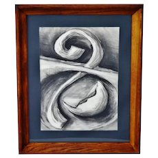 Vintage Framed Original Charcoal Abstract Drawing