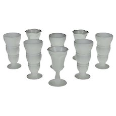Vintage Milk Glass Sundae Glasses - Group of 8