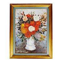 Vintage Framed John Henshaw Impasto Oil on Canvas Board Floral Still Life Painting - Signed