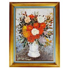 Vintage Framed John Henshaw Impasto Oil on Canvas Board Floral Still Life Painting - Signed