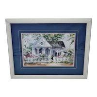 Vintage Framed Joy Evans Gingerbread Cottage Lithograph - Artist Signed