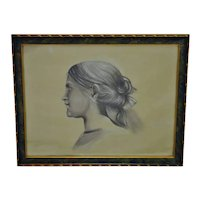 Vintage Framed Female Portrait Charcoal Drawing - Artist Signed