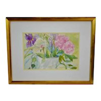 Vintage Framed Floral Watercolor Painting - Artist Signed