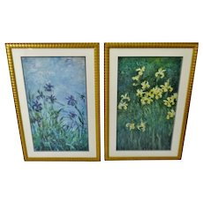 Vintage Large Framed Claude Monet Blue & Yellow Iris Prints - A Pair