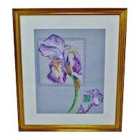 Vintage Framed Colored Pencil Iris Drawing - Artist Signed