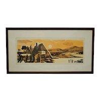 Vintage Framed Limited Edition Landscape Serigraph - Signed and Numbered
