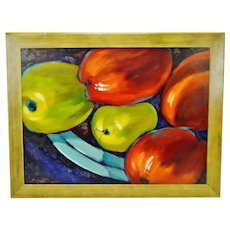 "Large Scale Framed Sergey Cherep Oil on Board Still Life Painting ""Apples"" - Artist Signed"
