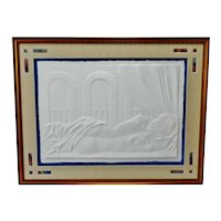 Vintage Framed Female Nude Blind Embossed Arches Paper Art - Artist Signed
