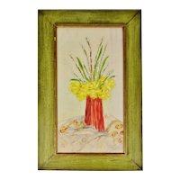 Vintage Rustic Framed Floral Still Life Oil on Board Painting - Artist Signed