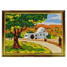 Vintage Framed Country Landscape Needlepoint Art