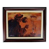 Vintage Framed Western Scene Oil on Board Painting - Artist Signed