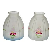 Victorian Hand Painted Frosted Glass Light Shades - A Pair