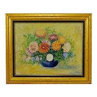 Vintage Framed Floral Still Life Oil on Board Painting - Artist Signed