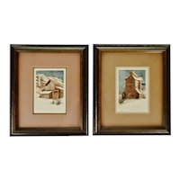 Vintage Framed Sue Tushingham McNary Signed Intaglio Etchings - Set of 2