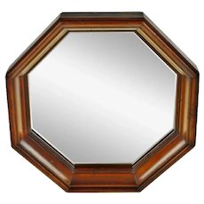 Vintage Wood Framed Octagonal Wall Mirror
