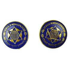 Pair of Vintage World Jewish Congress Lapel Pins