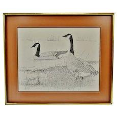 Vintage Framed Steve Leonardi Signed Lithograph Canada Geese