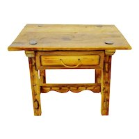 Antique Rustic Hand Made Accent Table with Hand Forged Blacksmiths Nails