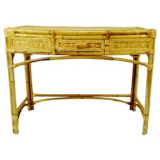 Mid Century Wicker and Bamboo Console Table Desk