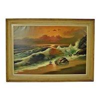 Vintage Framed Nautical Seascape Oil on Canvas - Artist Signed