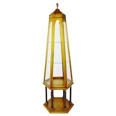 Vintage Six Sided Obelisk Lighted Etagere Curio Cabinet