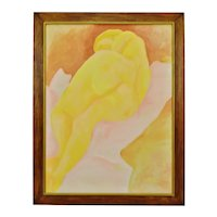Vintage Framed Abstract Figural Nude Woman Oil on Canvas - Artist Signed
