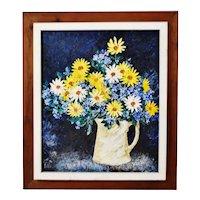 Vintage Rustic Framed Floral Still Life Impasto Oil on Board - Artist Signed
