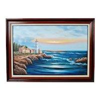 Vintage Framed Nautical Lighthouse Seascape Oil on Canvas - Artist Signed