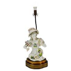 Vintage Porcelain Female Figural Table Lamp