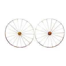 "Antique Large 42"" Metal Wagon Wheels - A Pair"