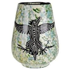 Vintage Hand Made Native American Phoenix & Rattlesnake Glazed Ceramic Pottery Vase