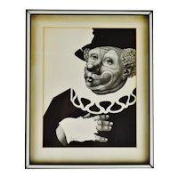 Vintage Framed A Besser Black & White Clown Lithograph - Pencil Signed