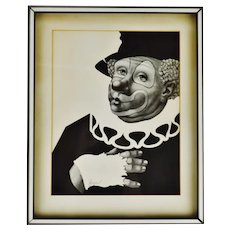 Vintage Framed A Besser Black & White Clown Lithograph - Pencil Signed